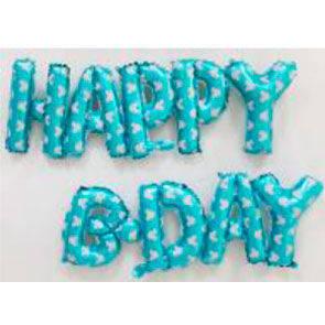 "Pallone mylar scritta ""HAPPY B-DAY"" azzurra"