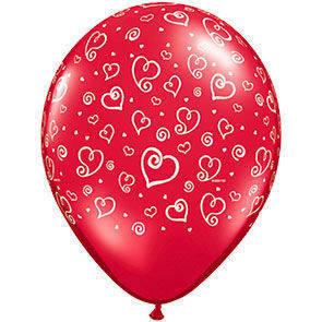 "Palloncini 12"" rossi stampa Cuori sul globo busta da 50 Pz."