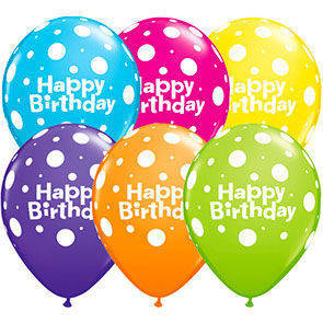"Palloncini 12"" colori assortiti Happy Birthday"