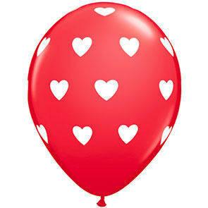 "Palloncini 12"" rossi stampa Cuori sul globo busta da 6 Pz."
