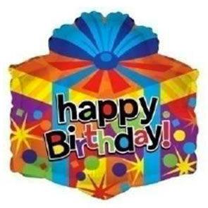 "Pallone mylar 18"" Happy Biorthday pacco regalo"