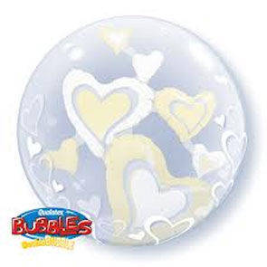 "Pallone Double Bubbles 24"" White Ivory Hearts"