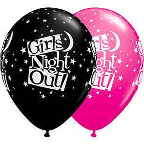 """Palloncini 12"""" neri e fuxia stampa Girl night outi sul globo busta da 25 Pz."""