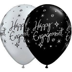 "Palloncini 12"" bianchi e neri stampa Happy Engagement busta da 25 Pz."