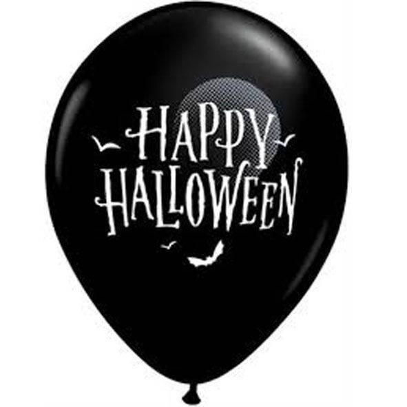 "Palloncini 12"" neri stampa ""Happy Halloween"" busta da 50 pz."