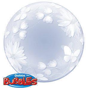 Pallone mylar Bubbles 51 cm Butterflies & Flowers