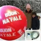PALLONE DIAM. 160 CM STAMPA GLOBO BUON NATALE + LUCE 140W