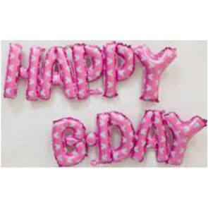 "Pallone mylar scritta ""HAPPY B-DAY"" rosa"