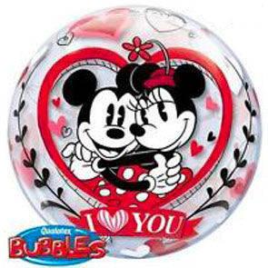 "Pallone Bubbles 22"" Mickey and Minnie Love"