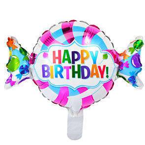 """Pallone in mylar Caramella Happy Birthday 14"""" confezione da 5 Pz."""