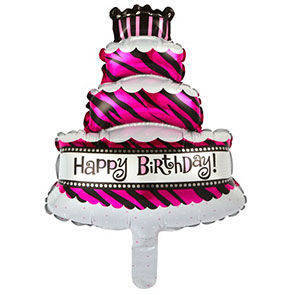 "Pallone in mylar Torta Happy Birthday 14"" confezione da 5 Pz."