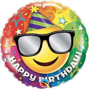 """Pallone mylar 18"""" Happy Birthday Occhiali"""