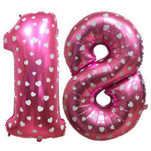 Numeri in mylar 100 cm Rosa decorati cuoricini